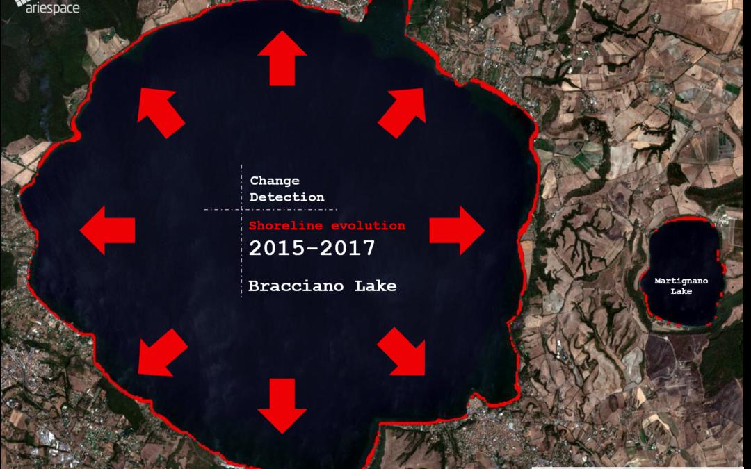 Il lago visto da satellite: arretramento della linea di costa anche di 100 metri
